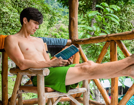 man sitting in clean shorts to prevent tinea cruris