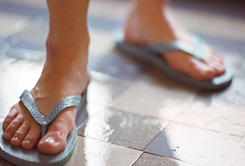 Wear flip flops in shower to avoid skin irritations like jock itch